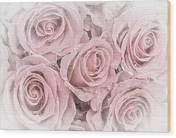 Faded Roses Wood Print by Jane Rix