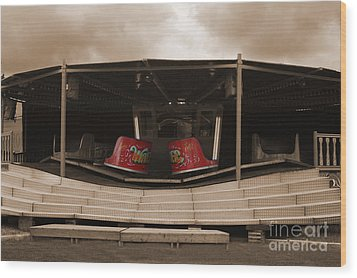 Fairground Waltzer In Sepia Wood Print by Terri Waters