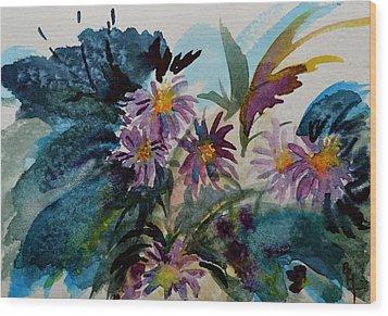 Fairyland Asters Wood Print by Beverley Harper Tinsley