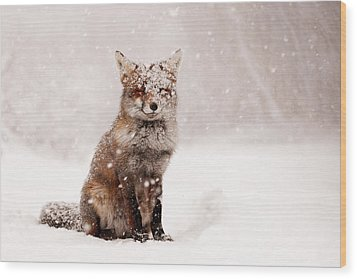 Fairytale Fox _ Red Fox In A Snow Storm Wood Print by Roeselien Raimond