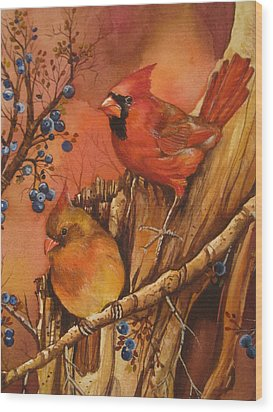 Fall Companions Wood Print by Cheryl Borchert