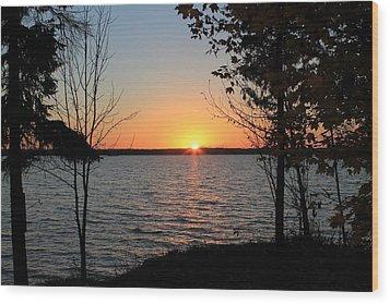 Fall Sunset At Long Lake Wood Print by Rhonda Humphreys