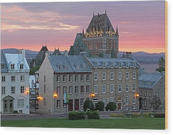 Famous Chateau Frontenac In Quebec City Wood Print by Juergen Roth