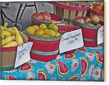 Farm Fresh Produce At The Farmers Market Wood Print by JW Hanley