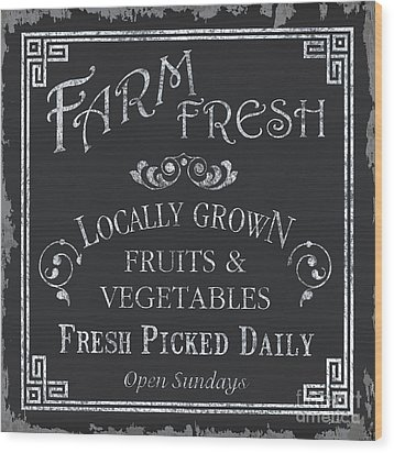 Farm Fresh Sign Wood Print by Debbie DeWitt