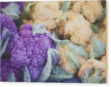 Farmers Market Purple Cauliflower Wood Print by Carol Leigh