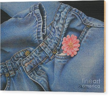 Favorite Jeans Wood Print by Pamela Clements
