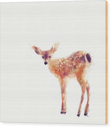 Fawn Wood Print by Amy Hamilton
