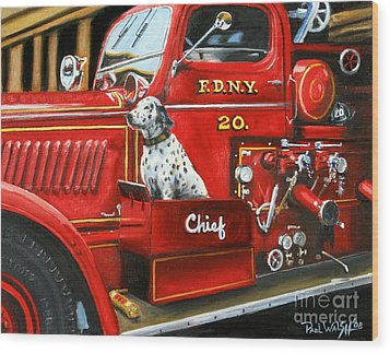 Fdny Chief Wood Print by Paul Walsh
