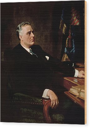 Fdr Official Portrait  Wood Print by War Is Hell Store