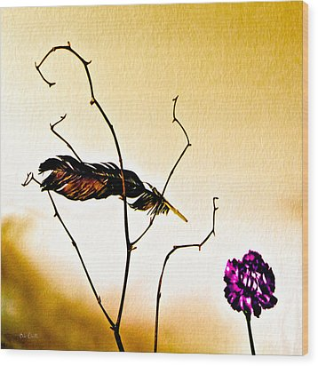Feather And Carnation Wood Print by Bob Orsillo
