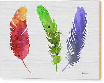Feathers Silhouette Painting Watercolor Art Print Wood Print by Joanna Szmerdt