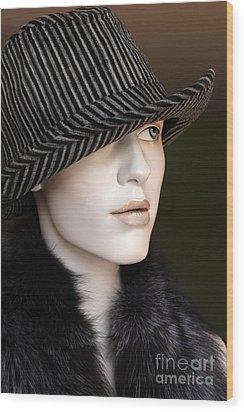 Fedora And Fur Wood Print by Sophie Vigneault