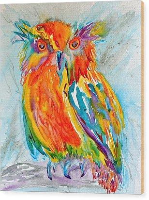 Feeling Owlright Wood Print by Beverley Harper Tinsley