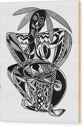 Female Drummer Wood Print by Robert Daniels