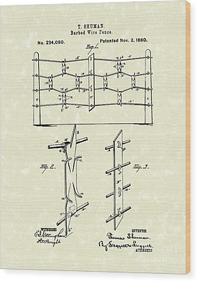 Fencing 1880 Patent Art Wood Print by Prior Art Design