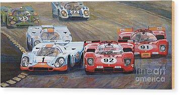 Ferrari Vs Porsche 1970 Watkins Glen 6 Hours Wood Print by Yuriy  Shevchuk