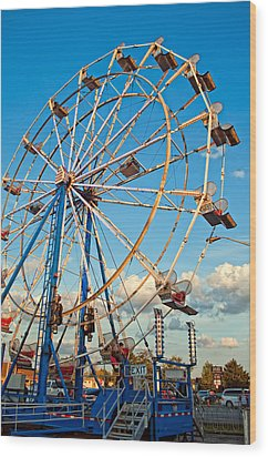 Ferris Wheel Wood Print by Steve Harrington