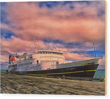 Ferry Dockside At Cold Bay Wood Print by Michael Pickett