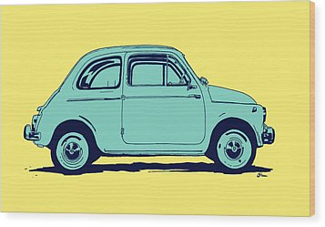 Fiat 500 Wood Print by Giuseppe Cristiano