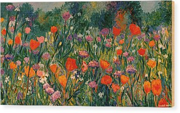 Field Of Flowers Wood Print by Kendall Kessler
