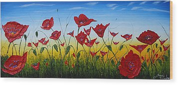 Field Of Red Poppies 4 Wood Print by Portland Art Creations