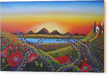 Field Of Red Poppies At Dusk 3 Wood Print by Portland Art Creations