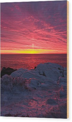Fire And Ice Wood Print by Benjamin Williamson