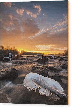 Fire And Ice Wood Print by Davorin Mance