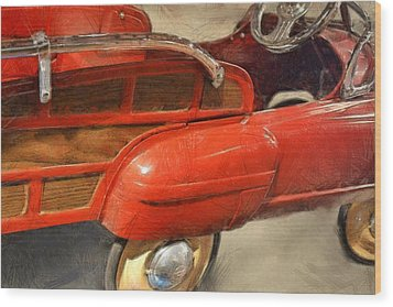 Fire Engine Pedal Car Wood Print by Michelle Calkins