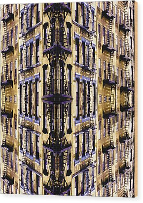 Fire Escapes - New York City Wood Print by Linda  Parker