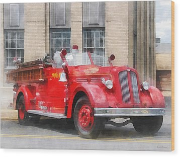Fire Fighters - Vintage Fire Truck Wood Print by Susan Savad