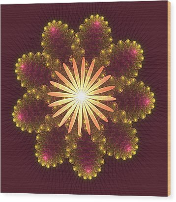 Fire Flower Mandala Wood Print by Svetlana Nikolova