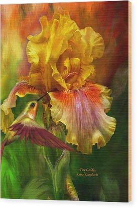Fire Goddess Wood Print by Carol Cavalaris