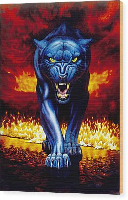 Fire Panther Wood Print by MGL Studio - Chris Hiett