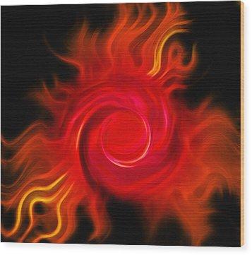 Fireball - Cosmic Peacock 2 Wood Print by Steve Ohlsen