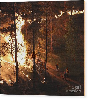 Wood Print featuring the photograph Firefighters Burn Out On The White Draw Fire by Bill Gabbert