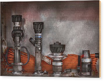 Firefighting - One For Everyone Wood Print by Mike Savad