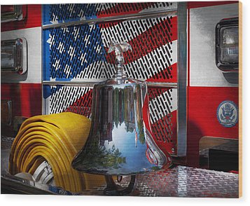 Fireman - Red Hot  Wood Print by Mike Savad