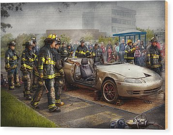 Firemen - The Fire Demonstration Wood Print by Mike Savad