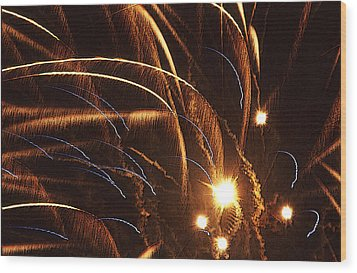 Fireworks In The Wind Wood Print by Anthony Dalton
