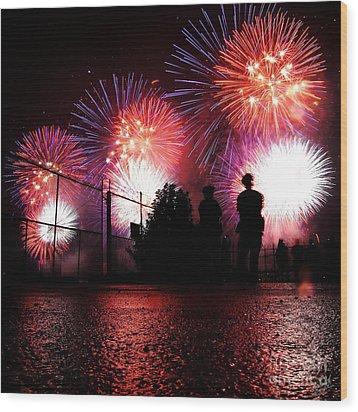 Fireworks Wood Print by Nishanth Gopinathan