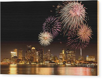Fireworks Over Boston Harbor Wood Print by Susan Cole Kelly
