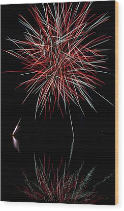 Fireworks Rockets Red Glare Wood Print by Christina Rollo