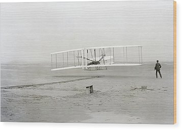 First Flight Captured On Glass Negative - 1903 Wood Print by Daniel Hagerman
