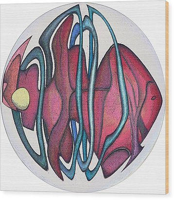 Fish Abstract Wood Print by George Curington