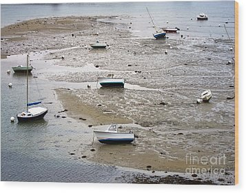 Fishing Boats At Low Tide Wood Print by Olivier Le Queinec