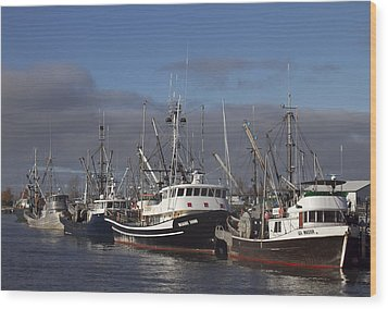 Fishing Boats Wood Print by Elvira Butler