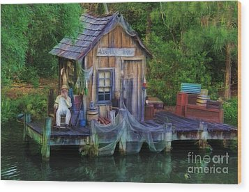 Fishing On The Bayou Wood Print by Lee Dos Santos