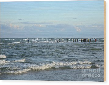Fishing The Point At Cape Hatteras Wood Print by Suzi Nelson